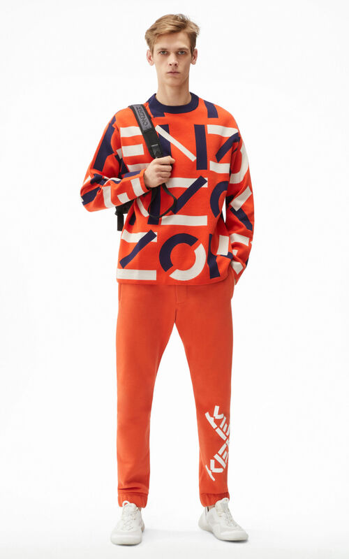 DEEP ORANGE KENZO Sport jacquard monogram jumper for men