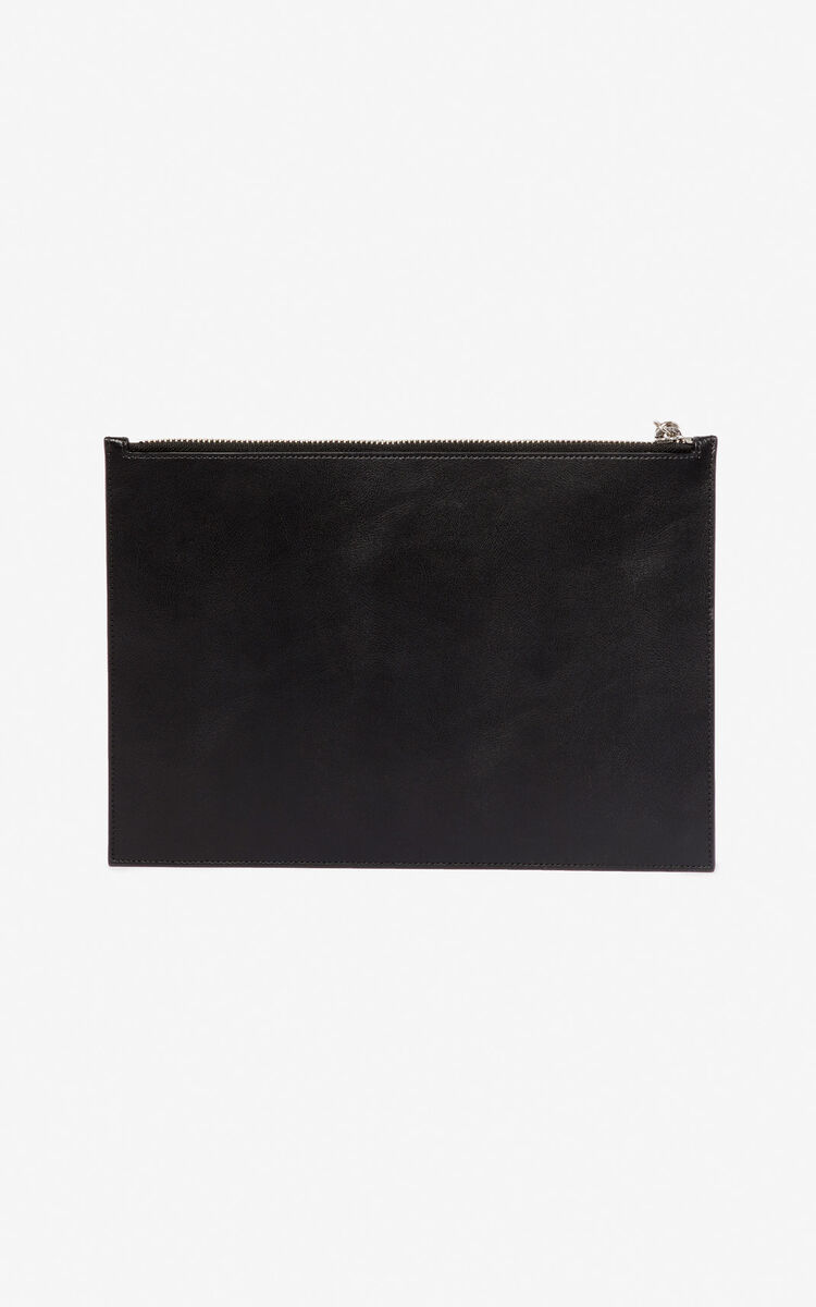 BLACK 'Square Logo' A4 leather clutch for women KENZO