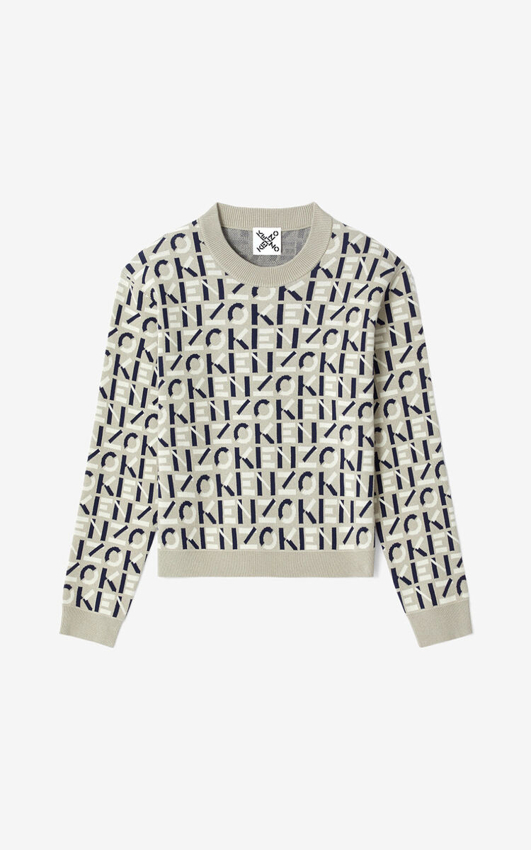 DOVE GREY KENZO Sport monogram jacquard jumper for men