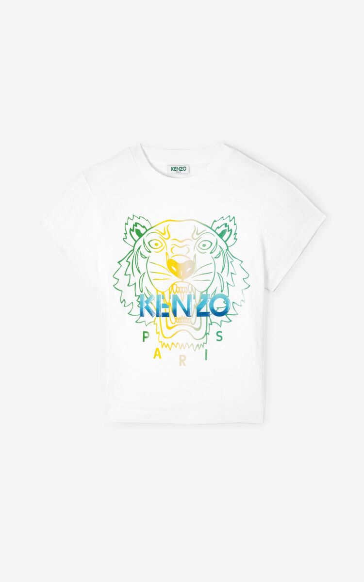 WHITE 'Wet Tiger' short T-shirt for women KENZO