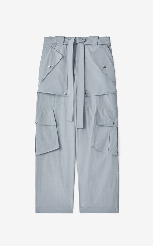 PEARL GREY Wide cargo trousers for unisex KENZO