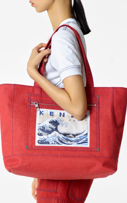MEDIUM RED Denim 'Kanagawa Wave' Tote for men KENZO