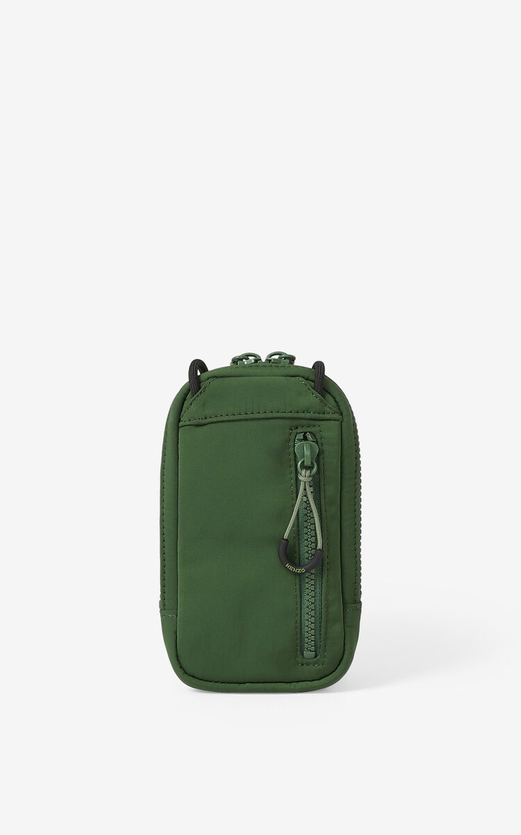 DARK KHAKI KENZO Sport crossbody phone holder for men