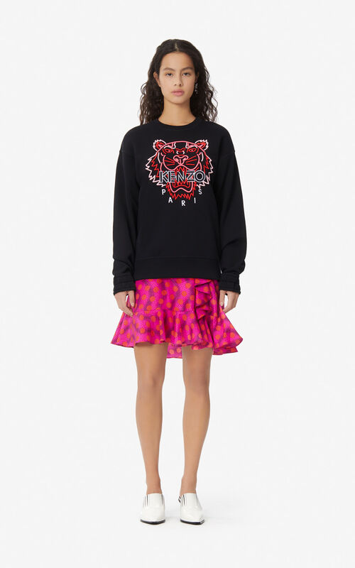 BLACK Neon Tiger sweatshirt for women KENZO