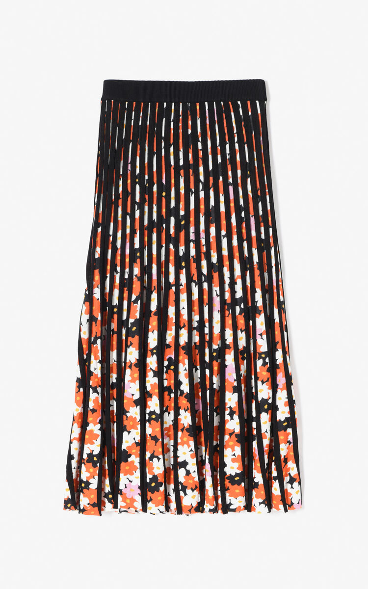 BLACK 'Jackie Flowers' pleated skirt for women KENZO
