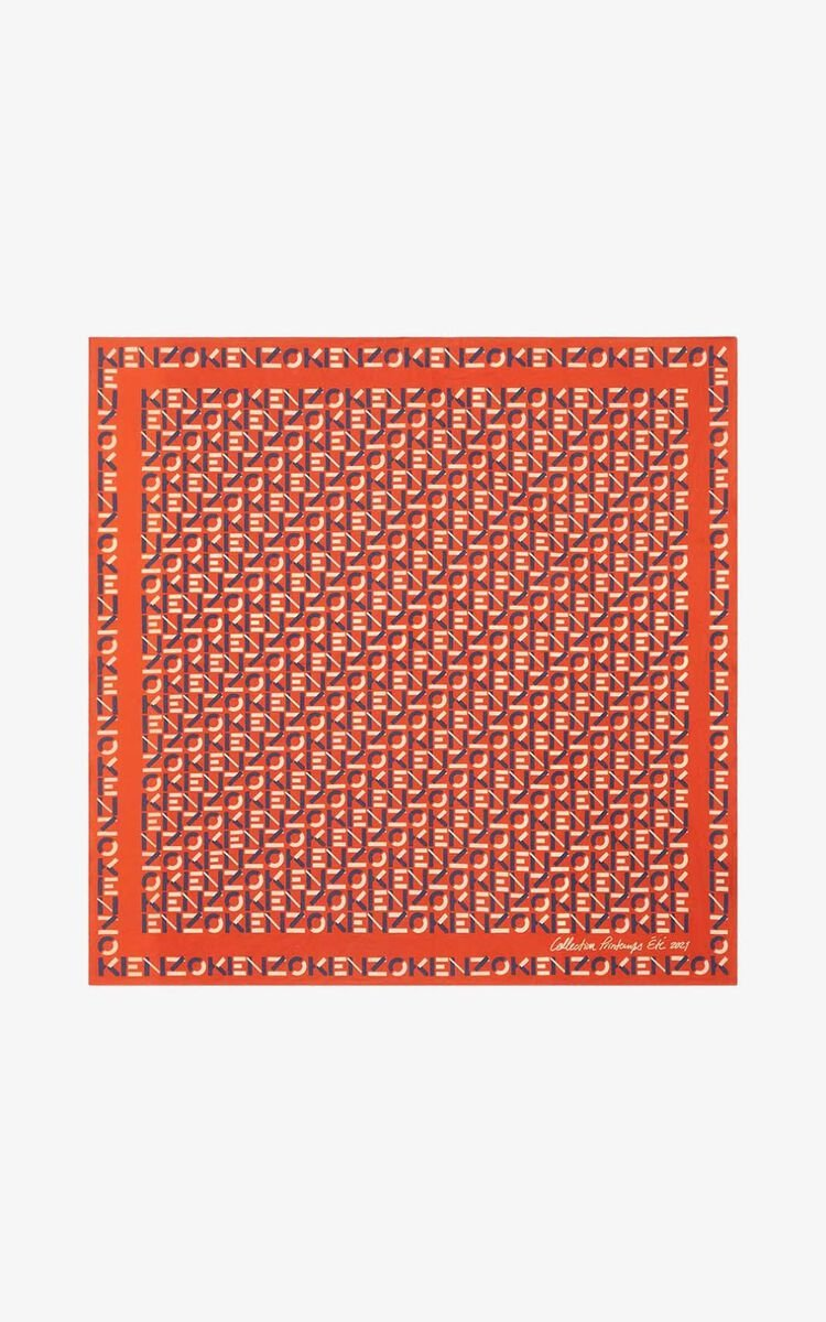 DEEP ORANGE KENZO monogrammed bandana for women