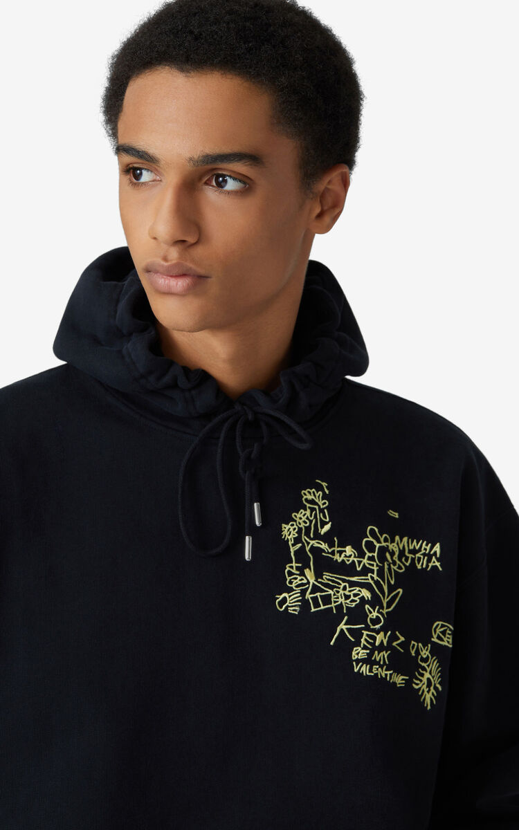 BLACK Valentine's Day Capsule 'Chest Valentines' oversize hooded sweatshirt for men KENZO
