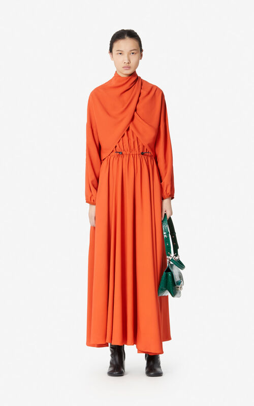 DEEP ORANGE Pleated maxi dress for women KENZO