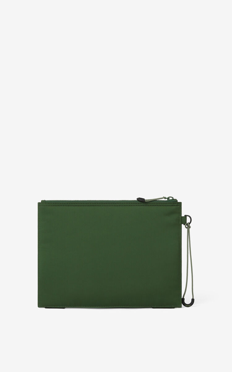 DARK KHAKI KENZO Sport large clutch for unisex