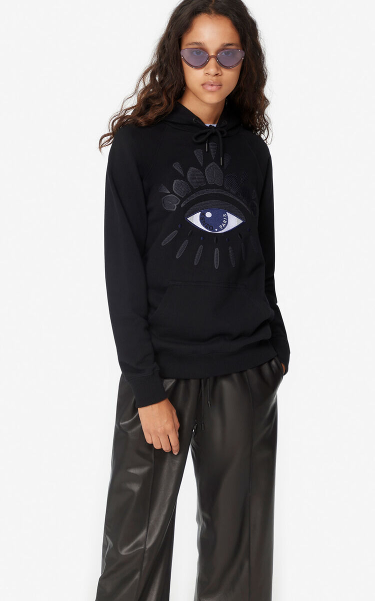 BLACK Eye hooded sweatshirt for women KENZO