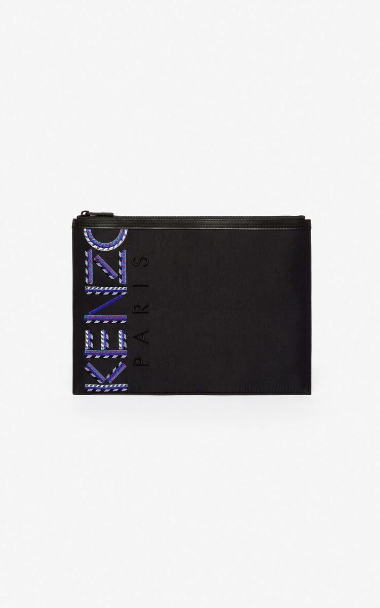 BLACK A4 KENZO logo pouch bag for unisex