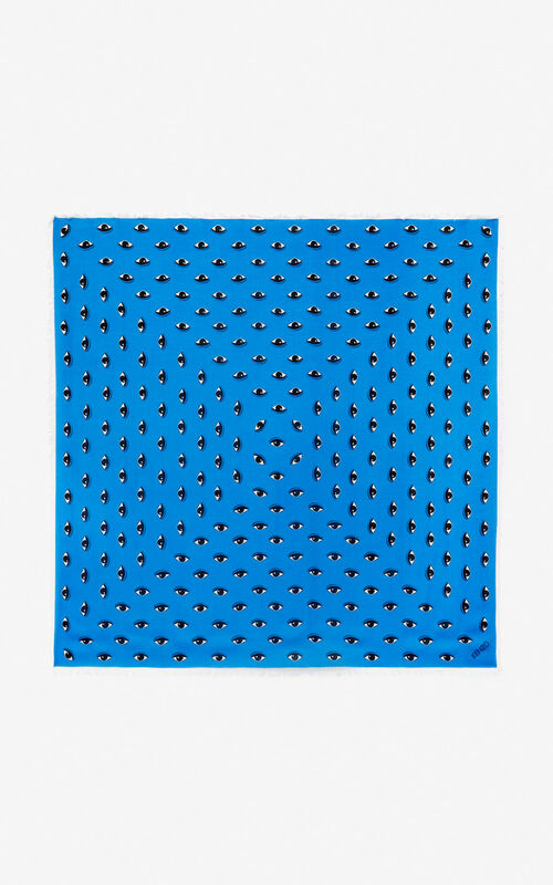 COBALT Large multi eye scarf for unisex KENZO
