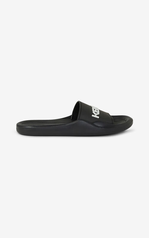 BLACK Pool KENZO Logo flip flops for unisex