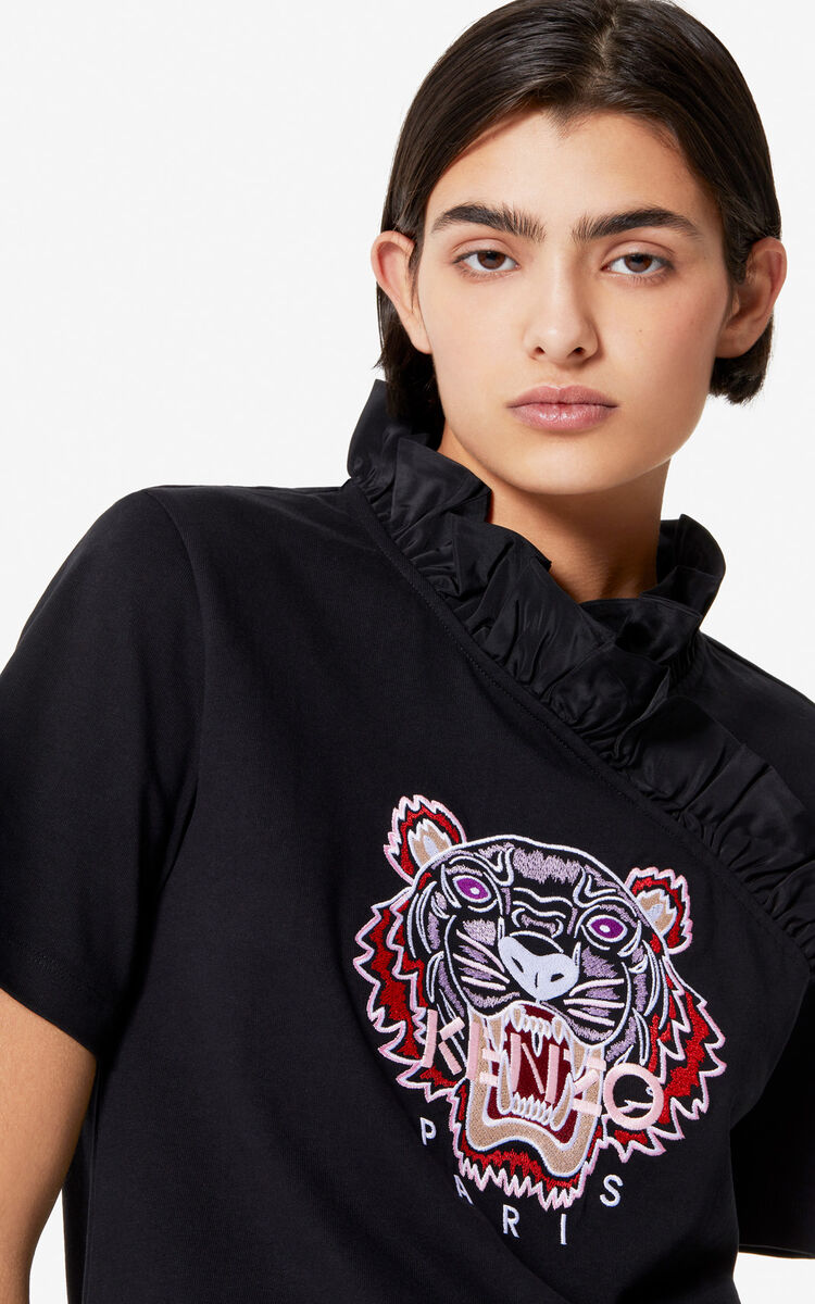 BLACK Tiger ruffle neck t-shirt for women KENZO