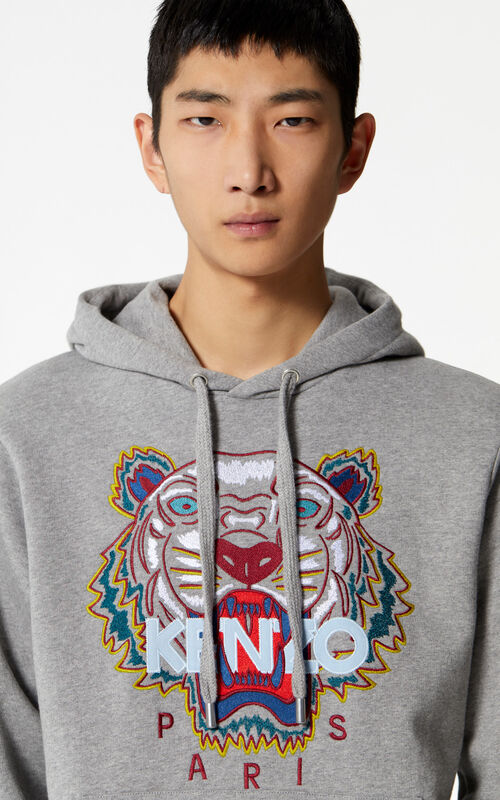 DOVE GREY Tiger hoodie for men KENZO