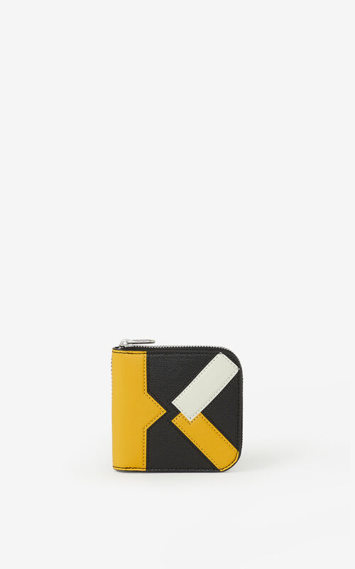 GOLDEN YELLOW Kube small zipped leather wallet for men KENZO
