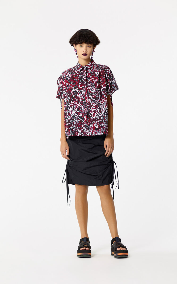 BLACK Pencil skirt with drawstring for women KENZO