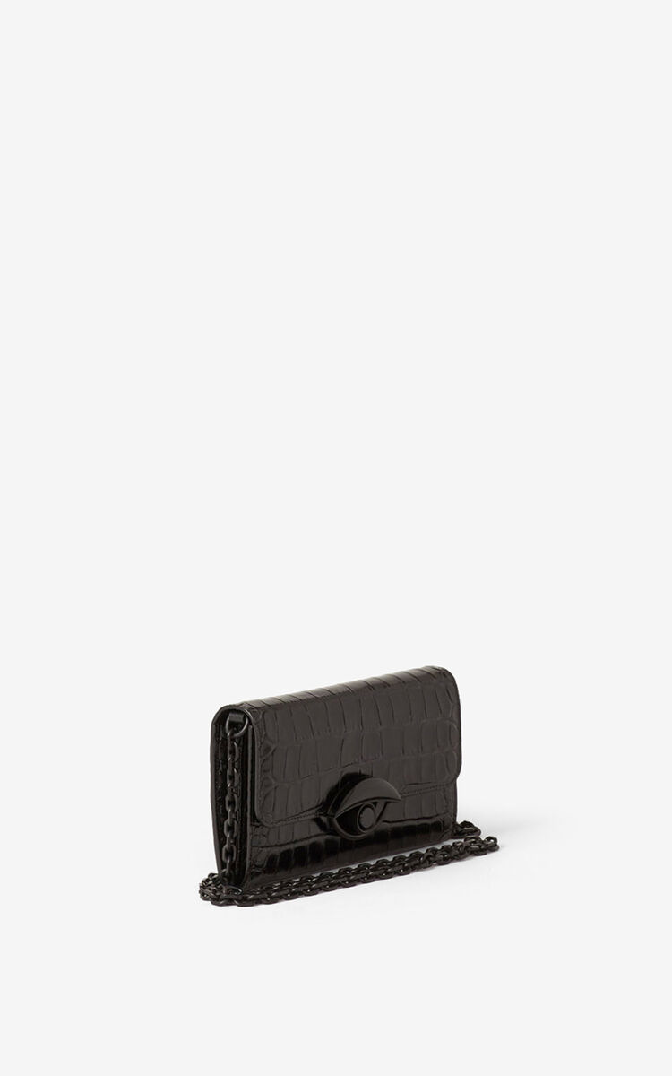 BLACK TALI croc leather wallet with chain for women KENZO