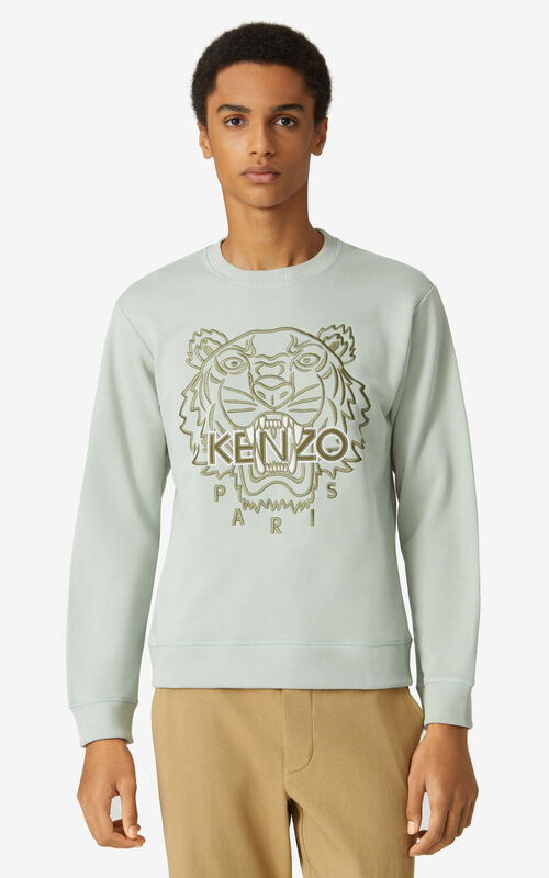 SAGE GREEN Tiger sweatshirt for men KENZO