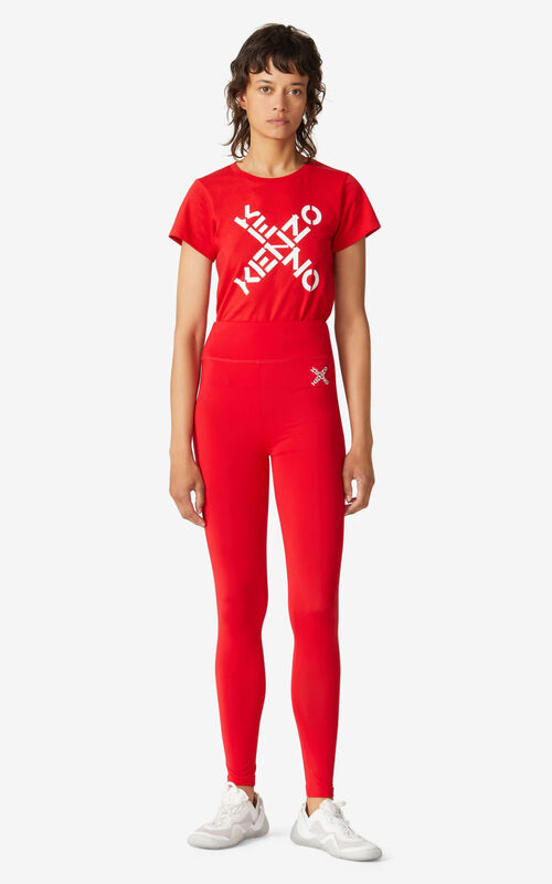 MEDIUM RED KENZO Sport 'Little X' leggings for women