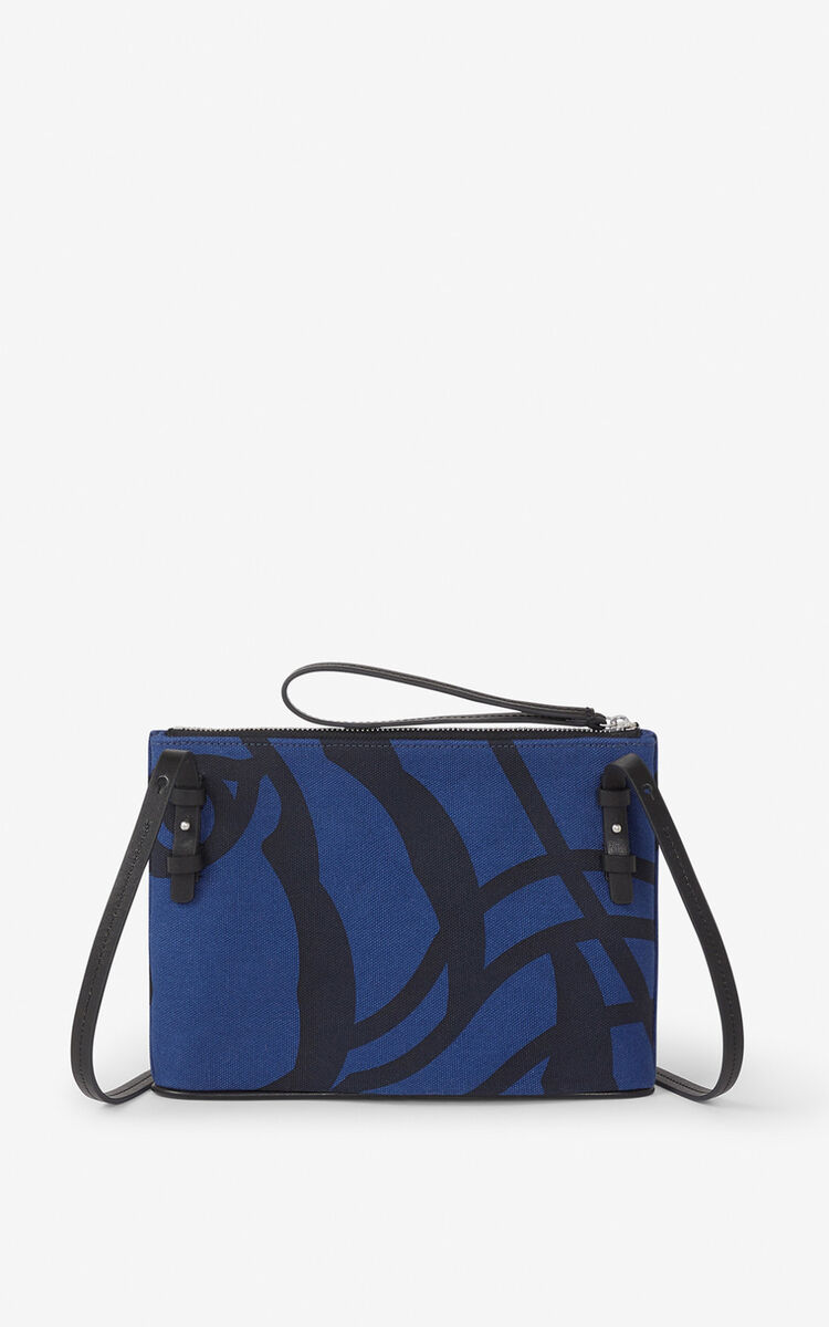 BLUE KENZO Arc canvas pouch and shoulder strap for women