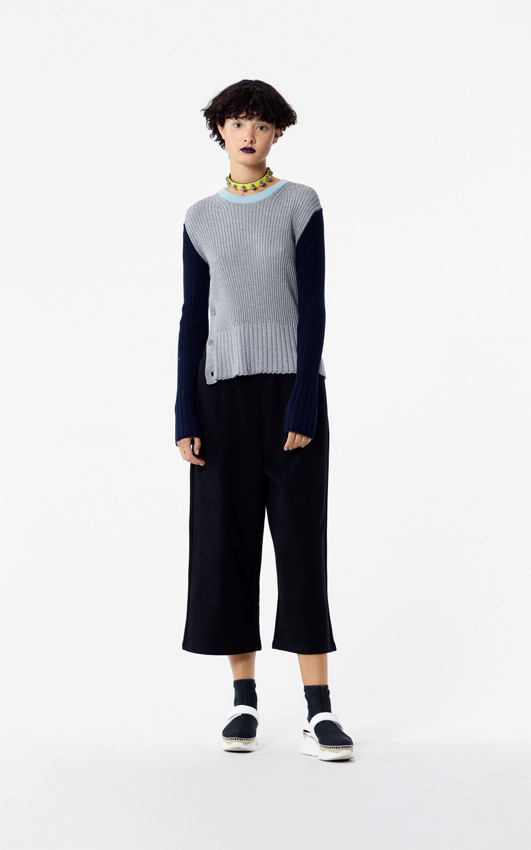 BLACK Cropped KENZO Logo Trousers for women