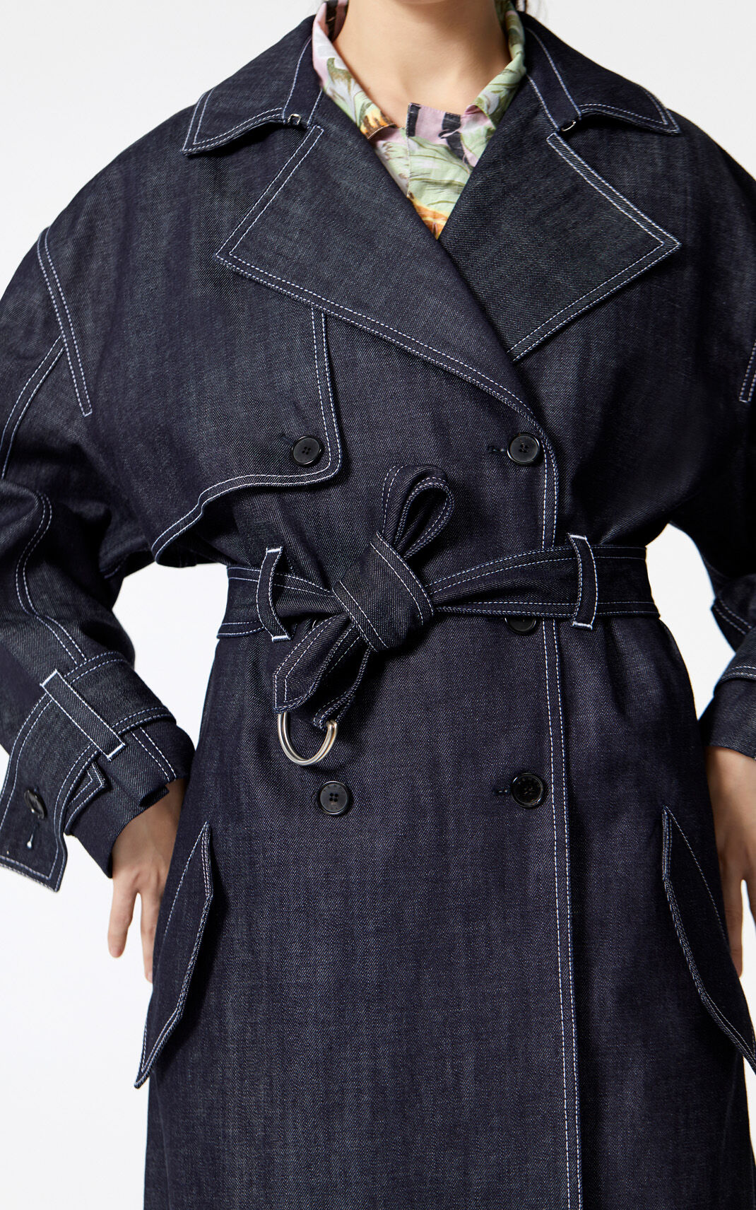 NAVY BLUE Denim trenchcoat for women KENZO