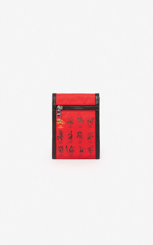 MEDIUM RED 'Chinese New Year Capsule' 'Kung Fu Rat' Hone Holder on strap for unisex KENZO