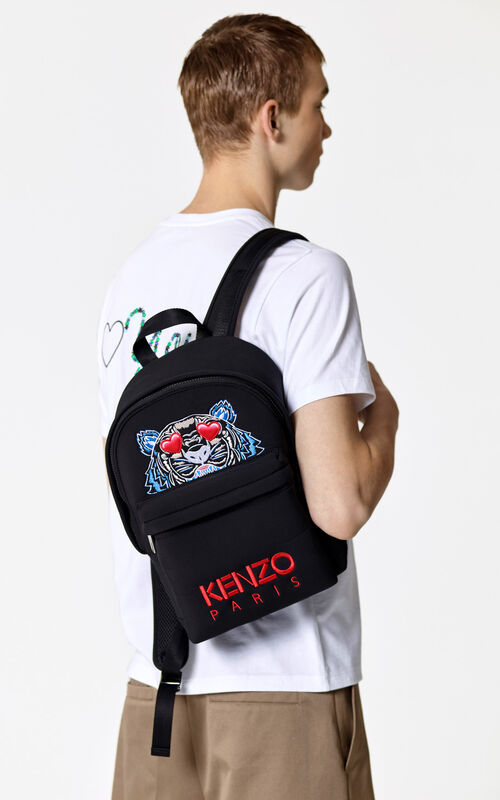 BLACK 'Valentine's Day Capsule' medium neoprene Tiger backpack for men KENZO