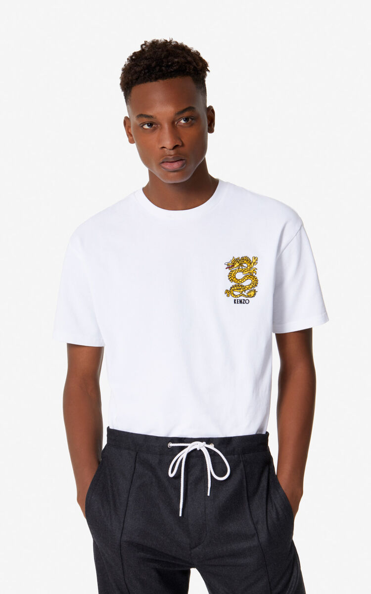 WHITE 'Dragon' t-shirt for men KENZO