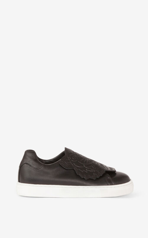 BLACK Tiger leather sneakers for women KENZO