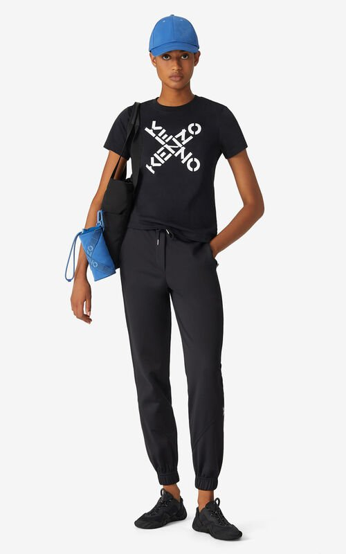 BLACK KENZO Sport 'Big X' T-shirt for women