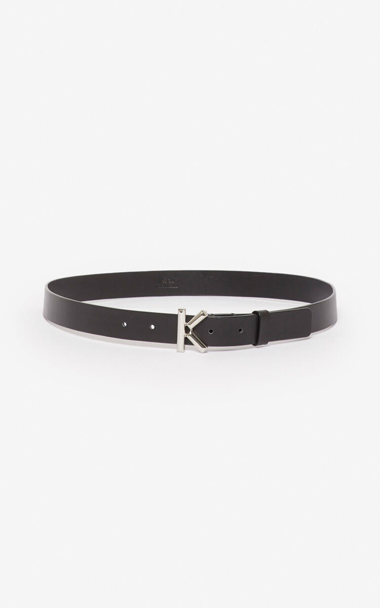 BLACK Narrow leather K belt for unisex KENZO
