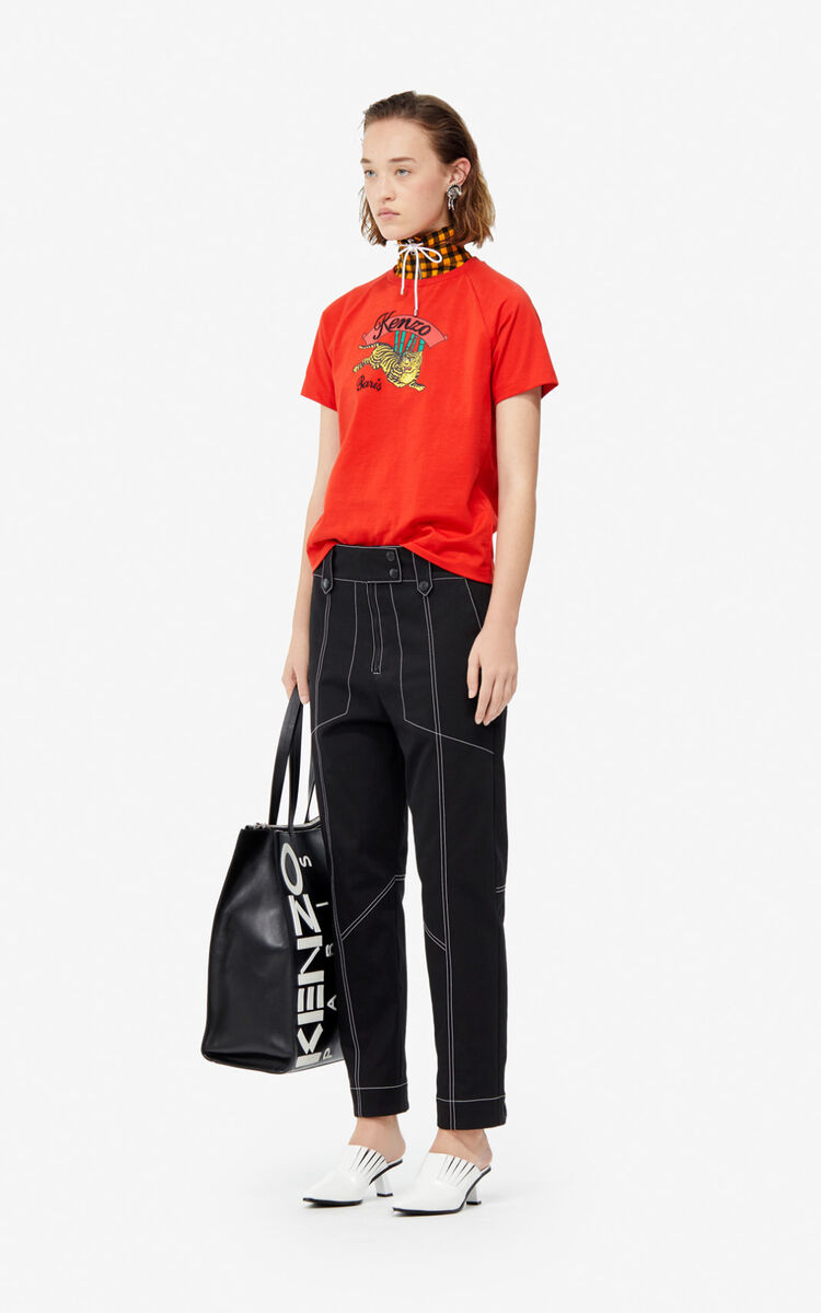 MEDIUM RED 'Bamboo Tiger' t-shirt for women KENZO