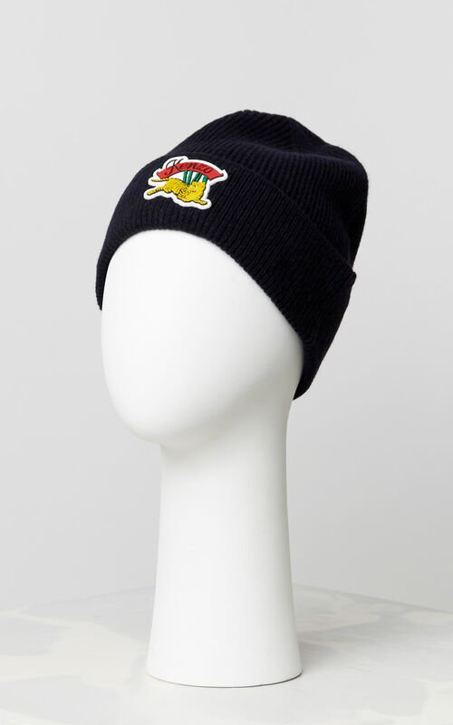 BLACK 'Jumping Tiger' beanie for unisex KENZO