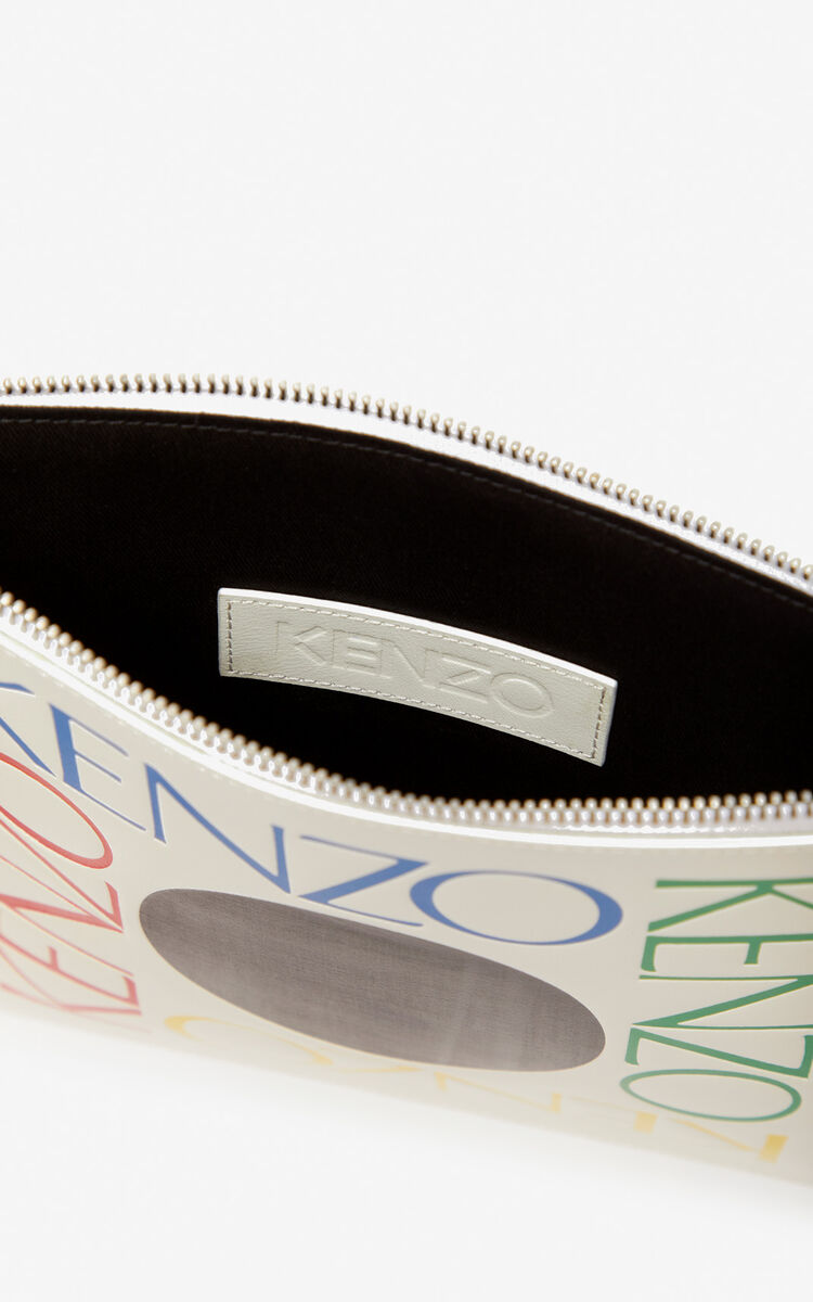 WHITE A4 'Square Logo' leather clutch for women KENZO