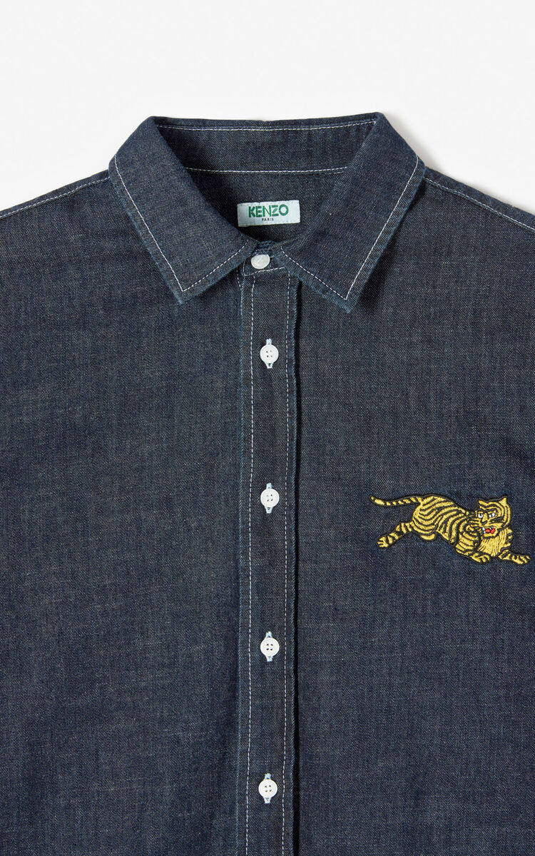 NAVY BLUE Casual denim 'Jumping Tiger' shirt for women KENZO
