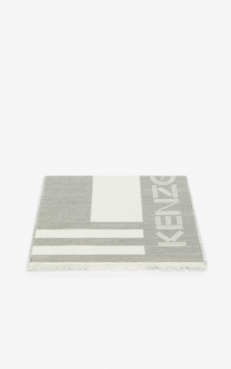 PALE GREY KENZO Logo wool scarf  for unisex
