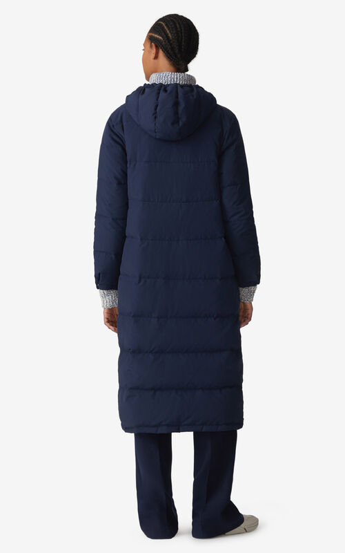 NAVY BLUE Reversible long quilted coat for women KENZO