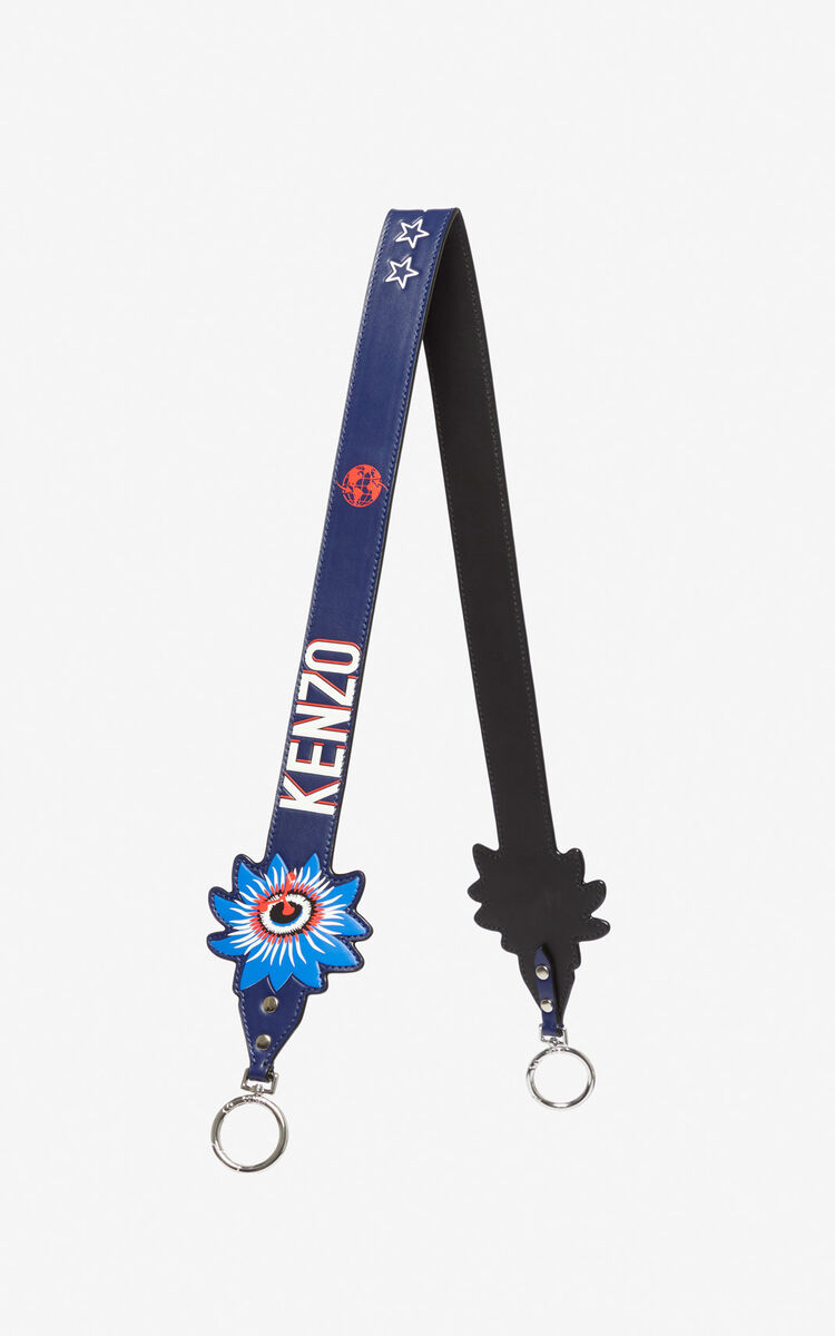 NAVY BLUE Leather shoulder strap for unisex KENZO