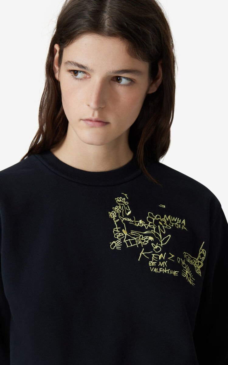 BLACK Embroidered sweatshirt for women KENZO