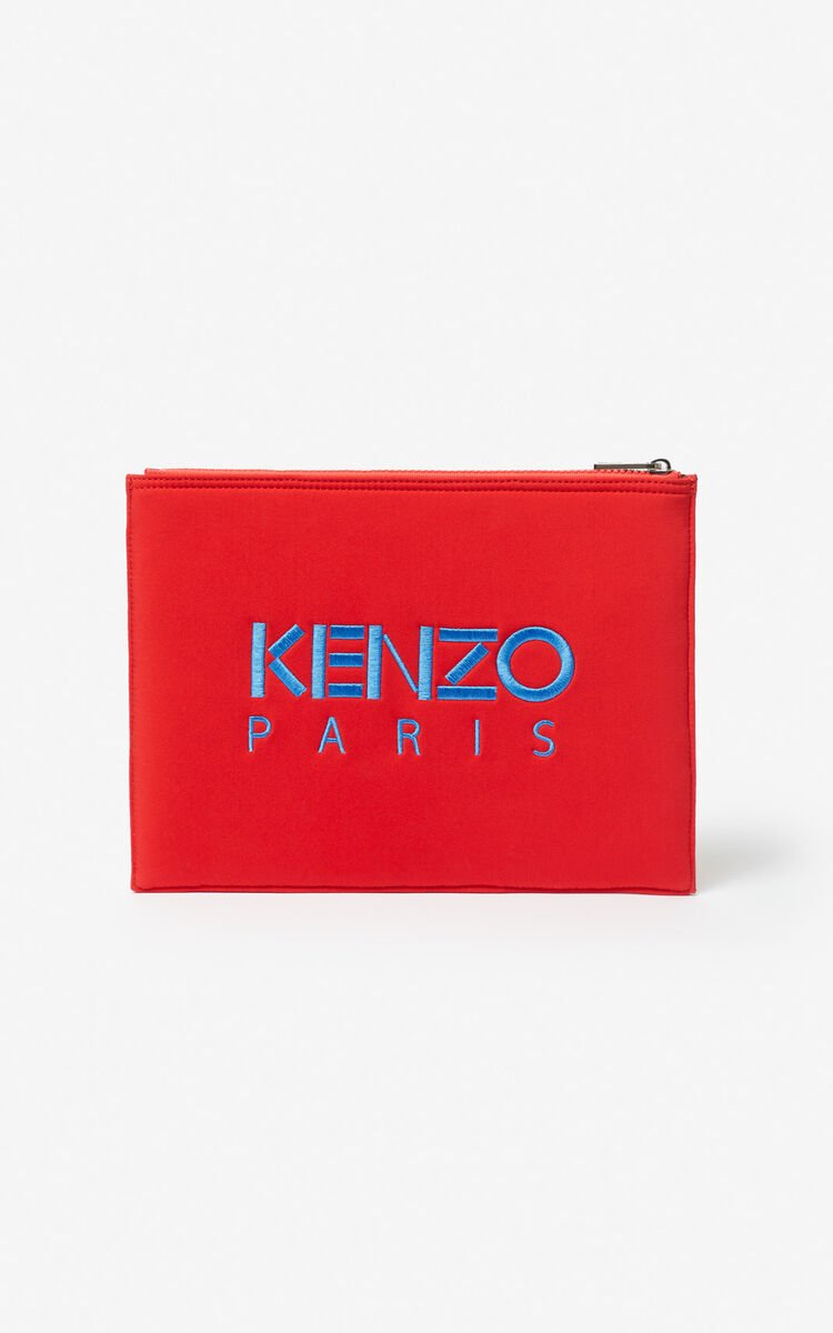 MEDIUM RED Tiger neoprene clutch for men KENZO