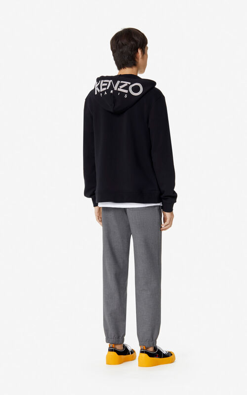 BLACK KENZO Logo Hoodie for men