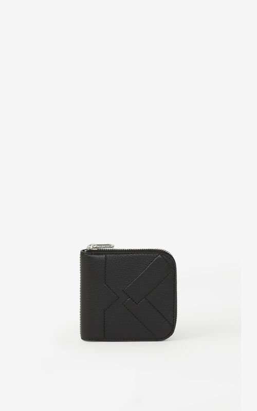 BLACK Small leather Kube purse with zip for unisex KENZO