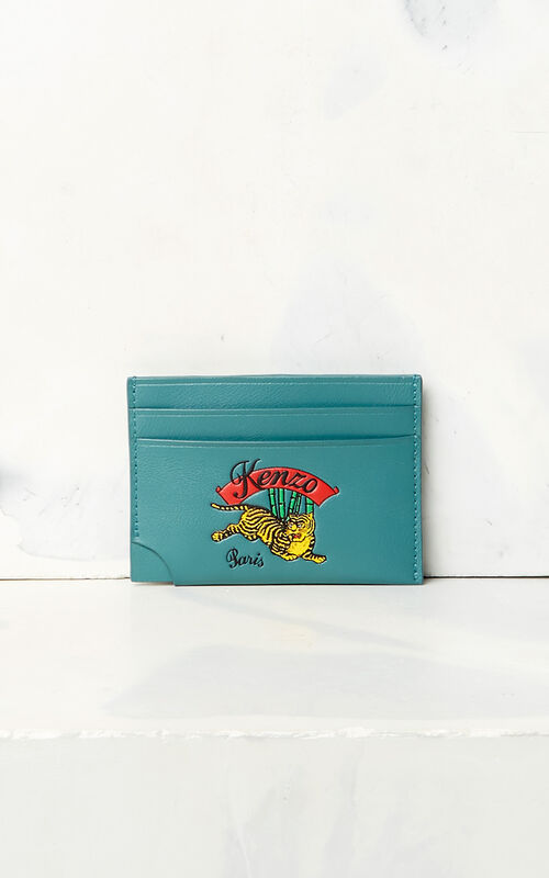 DUCK BLUE 'Jumping Tiger' card holder for unisex KENZO