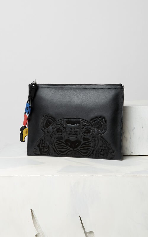 BLACK Tiger clutch for men KENZO
