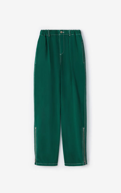 BOTTLE GREEN Cropped trousers with side zip for unisex KENZO