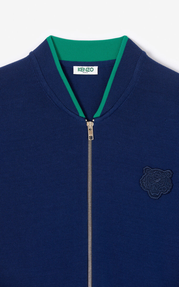 MIDNIGHT BLUE Tiger zipped cardigan for men KENZO