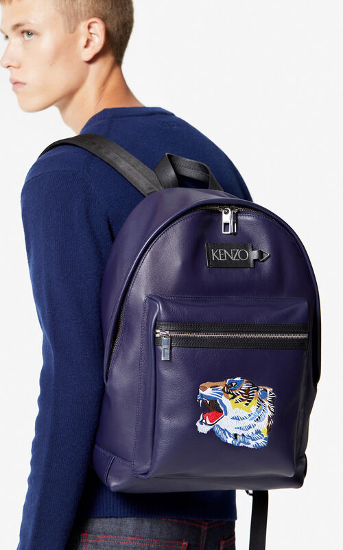 NAVY BLUE Leather 'Tiger Head' backpack 'Go Tigers Capsule' for men KENZO