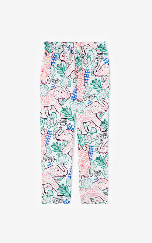 WHITE 'Disco Jungle' trousers for women KENZO